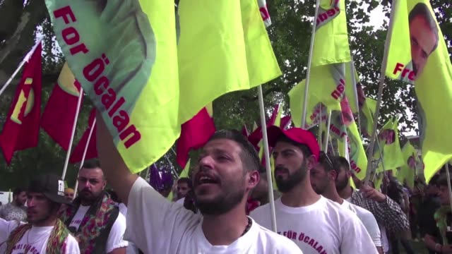 thousands of kurds gather in cologne germany to protest against the turkish offensive in syria while calling for the pkk leader and one of its... - kurdistan workers party stock videos & royalty-free footage