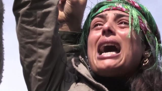 thousands of kurds gathered in syria's afrin saturday to mourn fighters and civilians killed in a blistering turkish assault on the region including... - grief stock videos & royalty-free footage