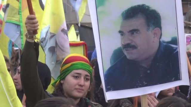 thousands of kurds protested in syria's qamishli on tuesday calling for the release of jailed kurdistan workers party leader abdullah ocalan detained... - kurdistan workers party stock videos & royalty-free footage