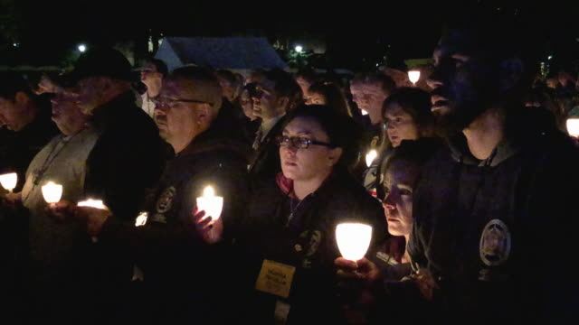 thousands of law enforcement officers and their family and supporters gather for the national police week 31st annual candlelight vigil on the... - memorial vigil stock videos & royalty-free footage