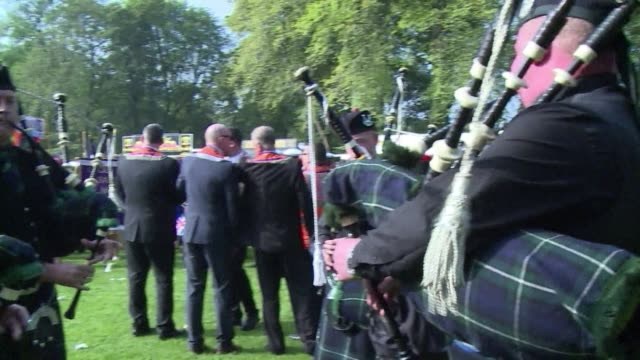 thousands of members of the protestant orange order march through edinburgh in a show of strength against scottish independence as the final weekend... - ulster province stock videos & royalty-free footage