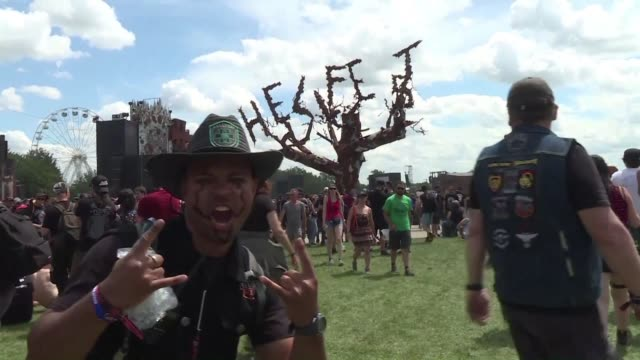 thousands of metal music fans from around the world gathered at the hellfest a must see festival of extreme music held in the vineyards of nantes... - nantes stock videos & royalty-free footage