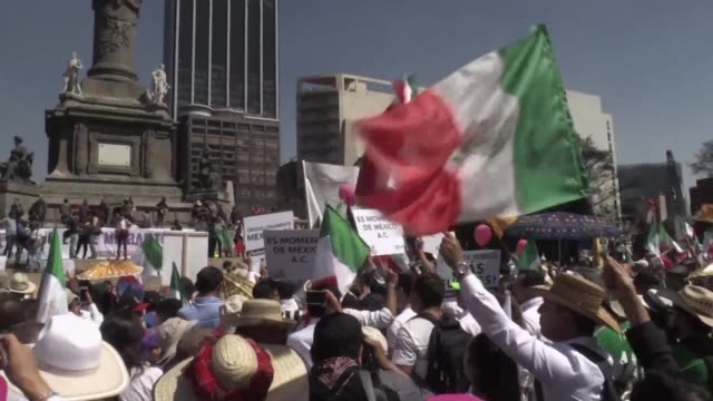 Thousands of Mexicans protest Sunday against US President Donald Trump hitting back at his anti Mexican rhetoric and vows to make the country pay for...