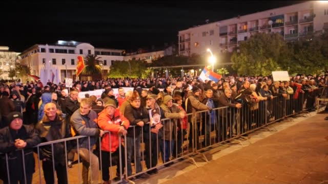 Thousands of Montenegrin people gather at Republic Square during a protest against NATO on the occasion of the 17th anniversary of the NATO bombing...