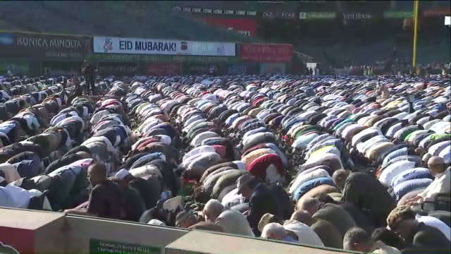KTLA Thousands of Muslims Gather at Eid prayer Celebration at Angel Stadium in Ahaheim