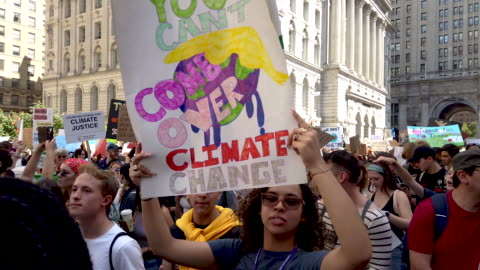 thousands of new york city students walk out of school to take part in a march to demand action on the global climate crisis on september 20, 2019 in... - ecosystem stock videos & royalty-free footage