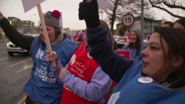 thousands of nurses in northern ireland strike for first time northern ireland ulster province county down ulster hospital ext gv nurses' picket line... - ulster province stock videos & royalty-free footage