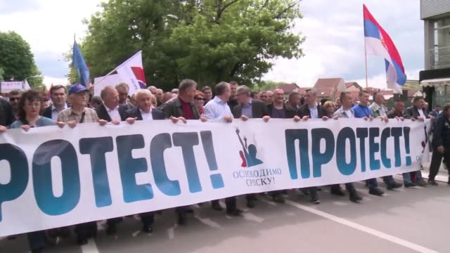 thousands of opponents and supporters of milorad dodik head of the bosnian serb run entity hold rival rallies in banja luka accusing each other of... - banja luka stock videos & royalty-free footage
