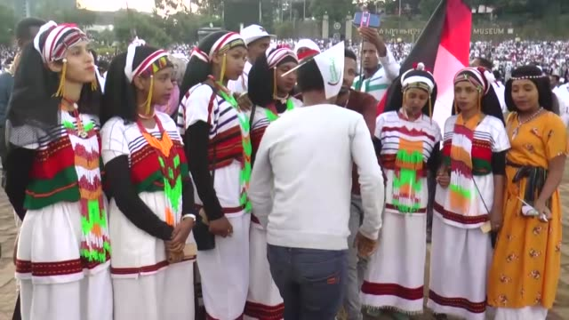 "thousands of oromo people attend the ""irreecha"" festival also known as 'oromo thanksgiving' in addis ababa, ethiopia on october 05, 2019. oromo... - ethiopia stock videos & royalty-free footage"