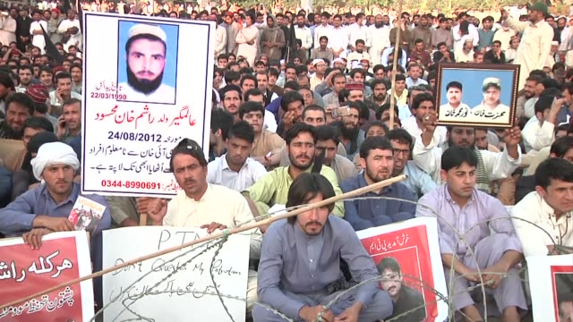 thousands of pashtuns defy authorities and hold a mass rally in the pakistani city of lahore chanting anti military slogans just hours after security... - lahore stock videos and b-roll footage