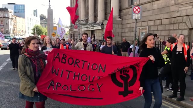 thousands of people are marching through dublin demanding change to ireland's strict abortion laws the march for choice is the first major... - politician stock videos & royalty-free footage