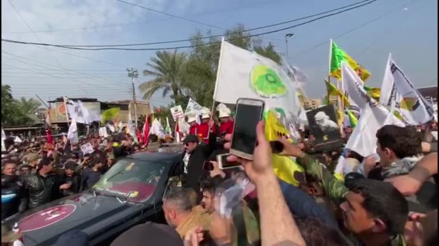 thousands of people attend the funeral ceremony in baghdad for iranian elite quds force qassem soleimani and abu mahdi almuhandis vice president of... - mourning stock videos & royalty-free footage