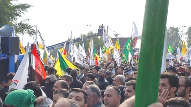 thousands of people attend the funeral ceremony in baghdad for iranian elite quds force qassem soleimani and abu mahdi almuhandis vice president of... - honor killing stock videos & royalty-free footage