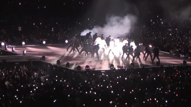 thousands of people attended a concert of the k pop supergroup bts as they perform in riyadh for the first time - bts band stock videos and b-roll footage