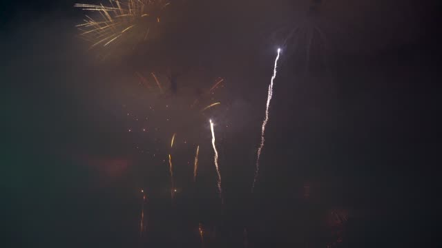 Thousands of people celebrate New Year's Eve admiring the fireworks display at Copacabana Beach