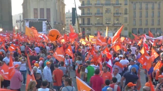 thousands of people converged on beiruts martyrs square friday as part of a demonstration called by one of lebanons leading christian parties to... - lebanon country stock videos & royalty-free footage