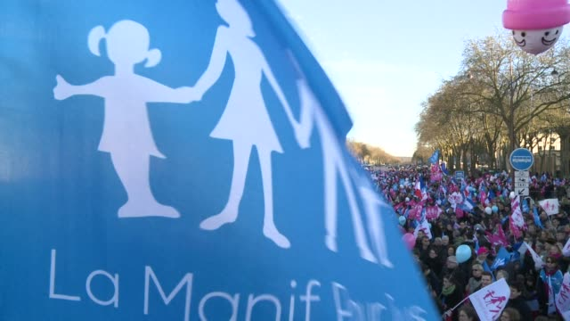 Thousands of people from an antigay marriage group called 'Manif for all' came to Versailles on Sunday to protest against the government's...