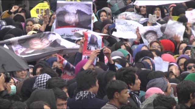Thousands of people gather to protest decapitating of seven Shiite Hazaras including four men two women and one child in Kabul Afghanistan on 11...
