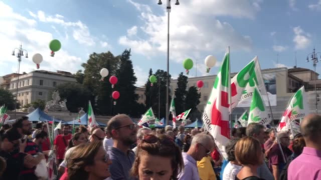 Thousands of people gathered at Piazza del Popolo square on Sunday to protest against the government's policies in Rome Italy on 30 September 2018