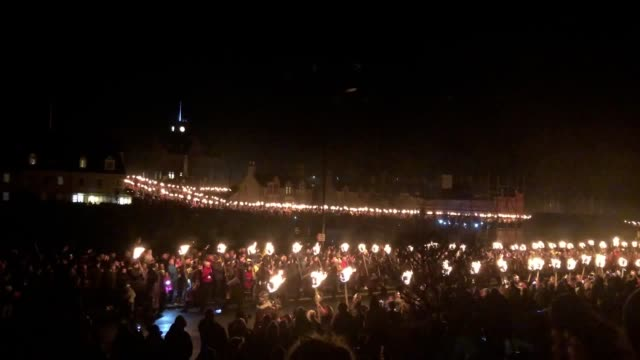 thousands of people gathered for the world-famous up helly aa fire festival on shetland. the event, which attracts visitors from around the globe,... - last stock videos & royalty-free footage