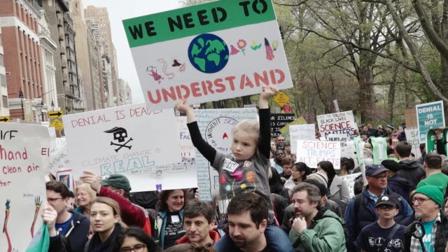 thousands of people gathered in the columbus circle vicinity for the national and global science march on earth day throughout the event people... - earth day stock videos & royalty-free footage