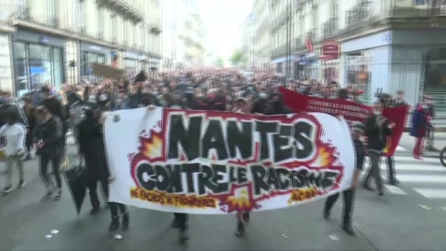 thousands of people in the western french city of nantes are joining in a march against racism and police violence, following similar demonstrations... - nantes stock videos & royalty-free footage