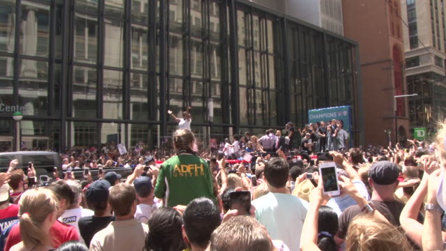 Thousands of people line Broadway in Downtown Manhattan otherwise known as the 'Canyon Of Heroes' during a Ticker Tape Parade celebrating the World...