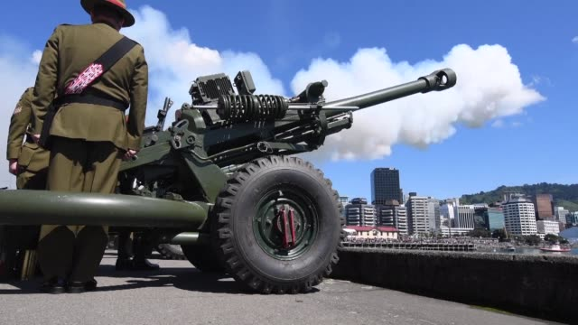vídeos y material grabado en eventos de stock de thousands of people line the waterfront to watch the ten new zealand army howitzer cannons fire during a 100 gun salute ceremony marking the 100th... - aniversario