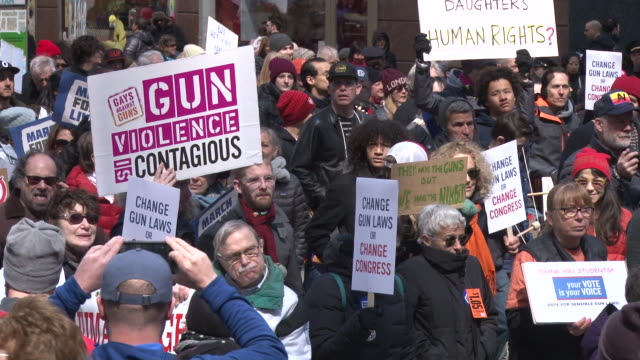 thousands of people many of them students march against gun violence in manhattan during the march for our lives rally on march 24 2018 in new york... - march for our lives video stock e b–roll