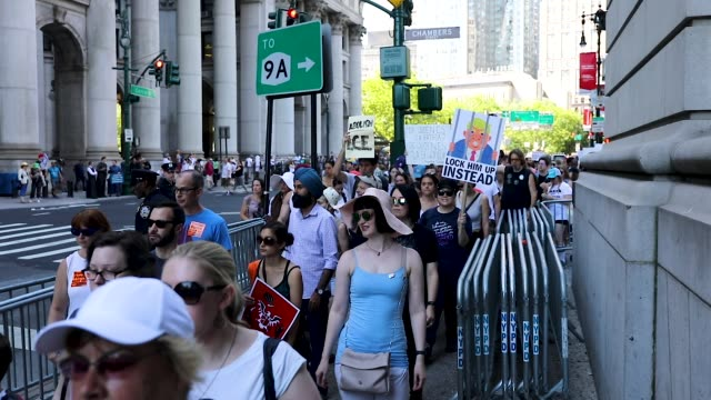 thousands of people march in support of families separated at the u.s.-mexico border on june 30, 2018 in new york, new york. across the country... - citizenship stock videos & royalty-free footage