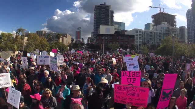 thousands of people marched through downtown san diego and san marcos in the second annual women's march saturday the san diego event began at 10 am... - north pacific stock videos and b-roll footage
