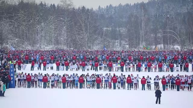 Thousands of people participate in the 36th Lyzhnya Rossii [Russian Ski Track] nationwide mass ski race in Moscow Russia on February 10 2018