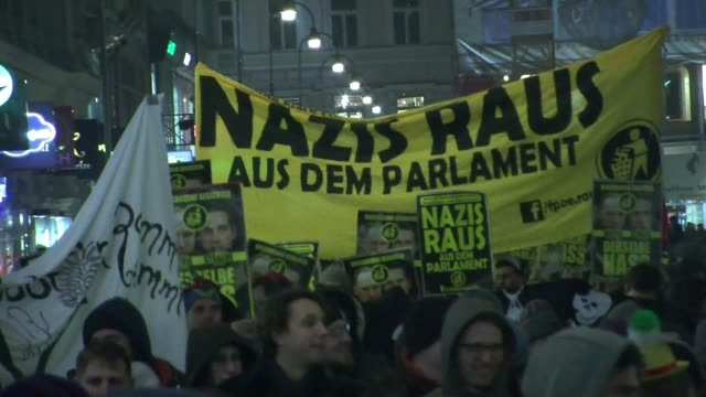 thousands of people rallied in vienna friday to protest the staging of an annual ball hosted by an extreme right party in a palace in the heart of... - traditionally austrian stock videos and b-roll footage