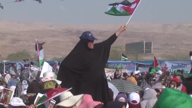 thousands of people stage rallies in jordan's sweimeh region near the border with the israelioccupied west bank to protest israel's decadeslong... - historical palestine stock videos & royalty-free footage