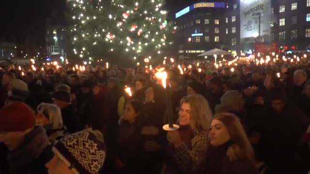 thousands of people take part in a demonstration in denmark to protest plans by the government to send refuges and migrants to a remote island on... - save the children stock videos & royalty-free footage