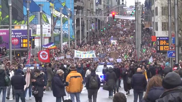 Thousands of people take part in a demonstration on climate change and global warming on December 02 2018 in Brussels Belgium