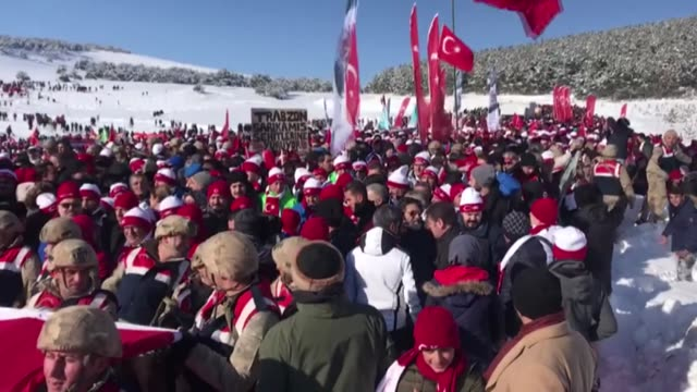 "thousands of people take part in the ""turkey marches with martyrs"" event to commemorate the martyrs of the world war i battle of sarikamis in kars... - kars stock videos & royalty-free footage"