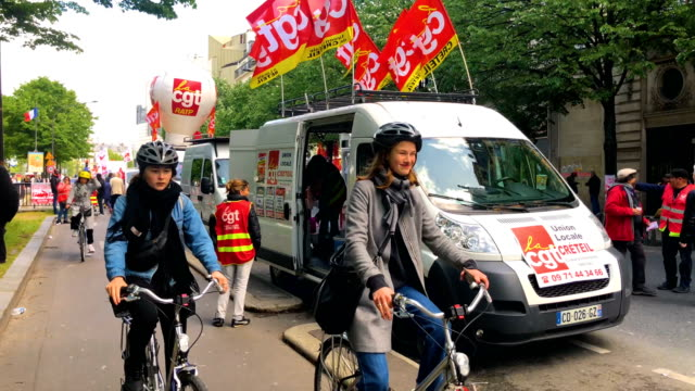 thousands of people take to the streets during the may day demonstrations on may 1 2018 in paris france this month celebrates the 50th anniversary of... - may day international workers day stock videos & royalty-free footage