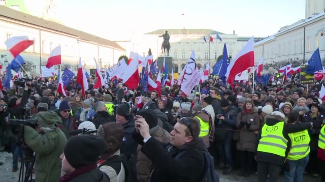 thousands of people took to the streets in more than 30 cities across poland on saturday to defend freedom and protest against the conservative... - warsaw stock videos & royalty-free footage