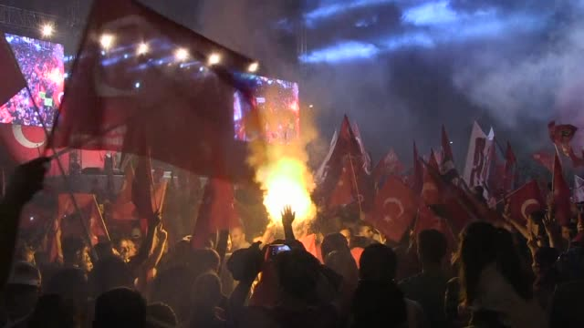 Thousands of pro Erdogan supporters waving Turkish flags fill Taksim Square 8 days after authorities crushed a military coup