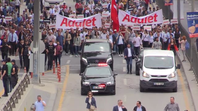 thousands of protesters continue to walk in central ankara on june 15 2017 after the main opposition leader called for a march for justice following... - transportation event stock videos and b-roll footage