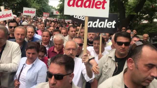 thousands of protesters gathered in central ankara on june 15 2017 after the main opposition leader called for a march for justice following the... - transportation event stock videos and b-roll footage