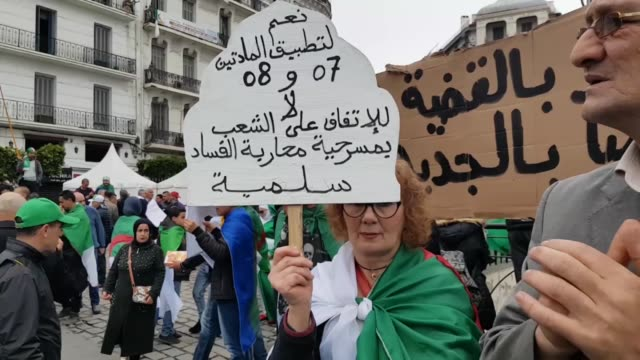 thousands of protesters stage demonstration in algeria on may 03 2019 to demand the departure of all government officials closely associated with... - アルジェリア点の映像素材/bロール