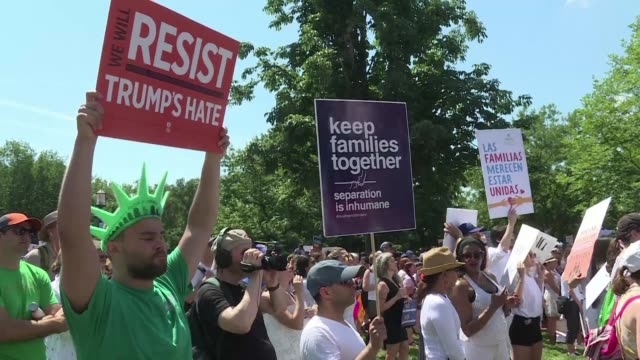 thousands of protesters take to the streets in dc demanding an end to family separations at the us border and calling for immigration reform - separation stock videos and b-roll footage
