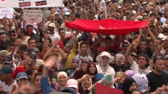 thousands of protesters took to the streets of morocco sunday to push for democratic reforms despite the vote approving a new constitution curbing... - casablanca morocco stock videos & royalty-free footage
