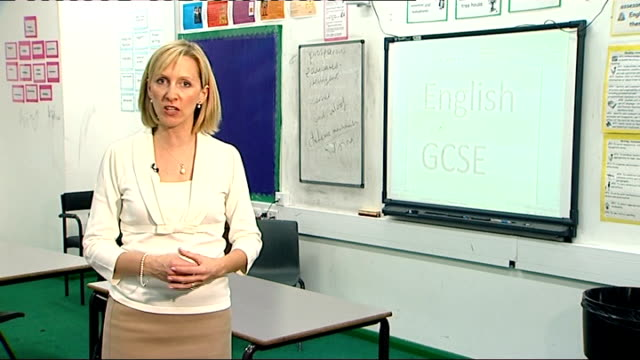 thousands of pupils forced to re-sit gcse exams; reporter to camera kathryn james interview sot - general certificate of secondary education stock videos & royalty-free footage