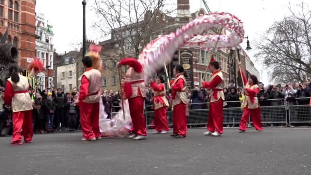 thousands of revellers including many from china have celebrated chinese new year in central london despite worries about coronavirus spreading to... - chinese culture stock videos & royalty-free footage