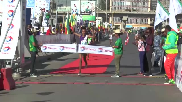 Thousands of runners compete in the 17th annual Great Ethiopian Run in Addis Ababa Ethiopia on November 26 2017 Ethiopian Solomon Berega came first...
