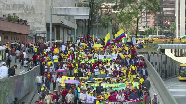 thousands of state school teachers from all of colombia took to the streets of bogota monday on the sixth day of a strike to demand better salaries... - fordern stock-videos und b-roll-filmmaterial