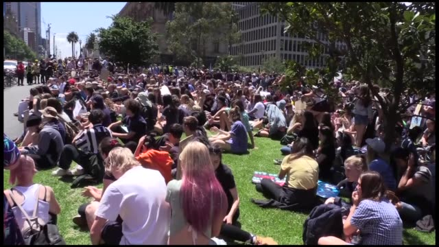 Thousands of students in Melbourne stage a demonstration on November 30 2018 to demand action by the federal government on climate change...
